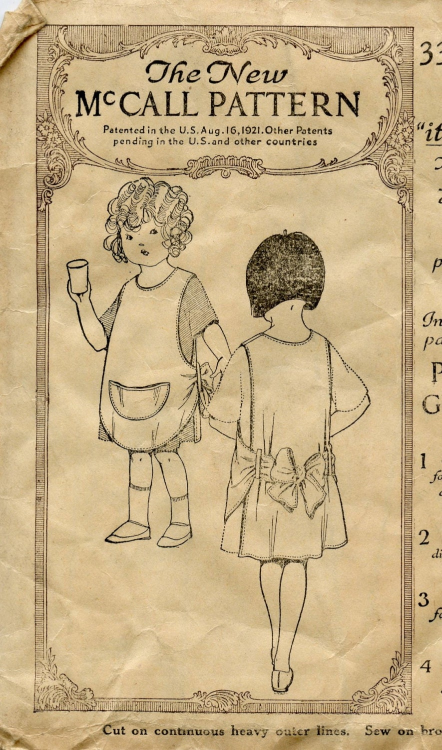 early 1920s vintage sewing pattern mccall 3392 by