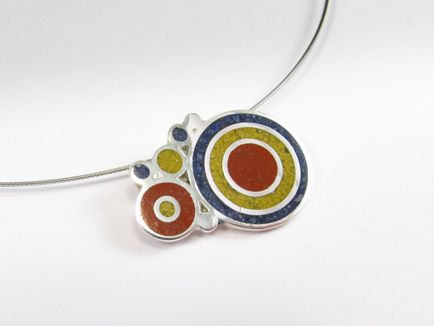 Blue Maroon Mustard - Colored bubbles - Sterling silver  pendant - Primary Colors - maldonadojoyas