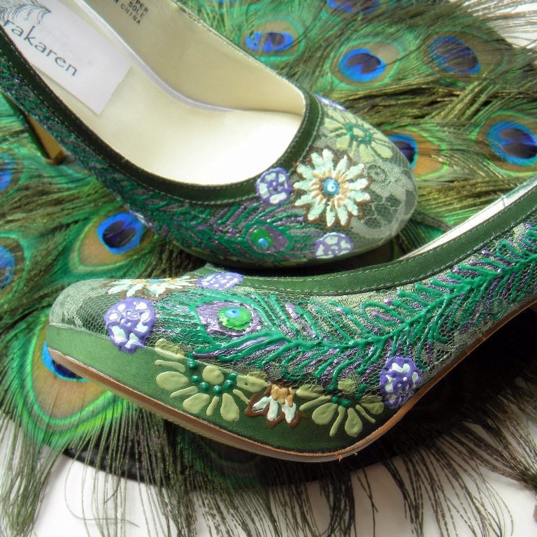 Wedding Shoes Forest Green Lace Peacock Vintage Feel By Norakaren