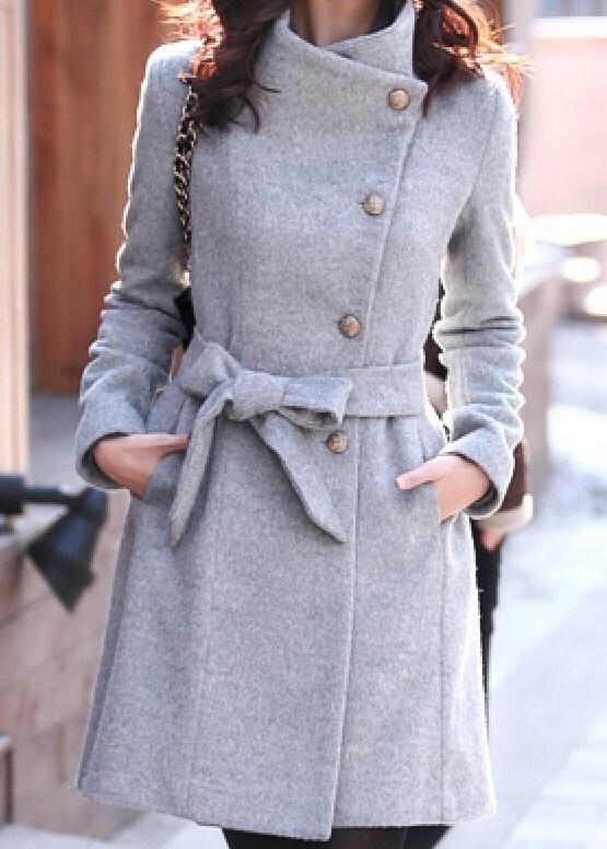 Gray  Wool Jacket women coat winter jacket Autumn Winter