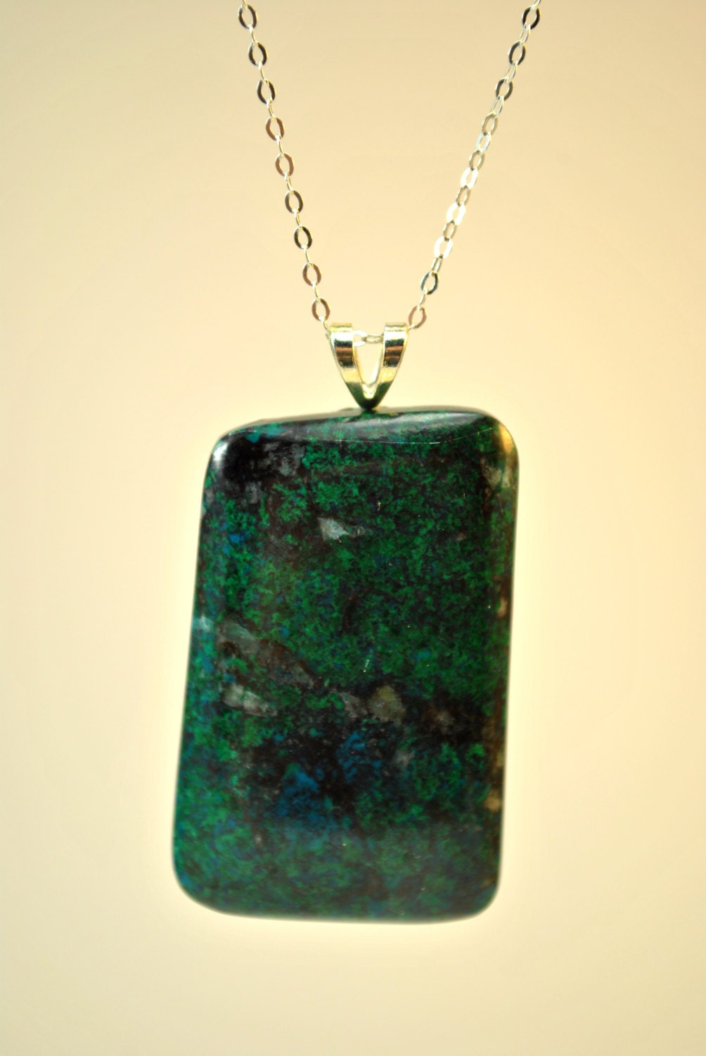 Necklace of Chrysocolla stone pendant suspended on a Sterling Silver 18 inch chain - Beechtree