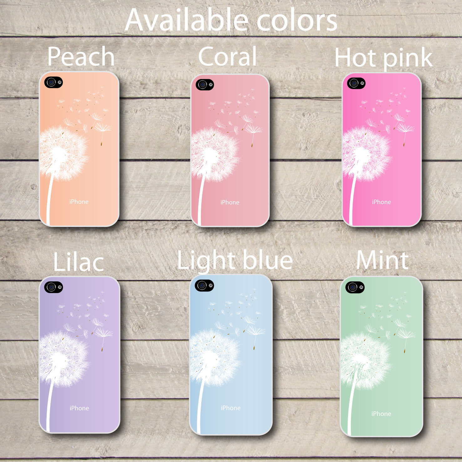 Mint Iphone 4 case dandelion pastel iphone case for iphone 4 and 4s, spring pastels