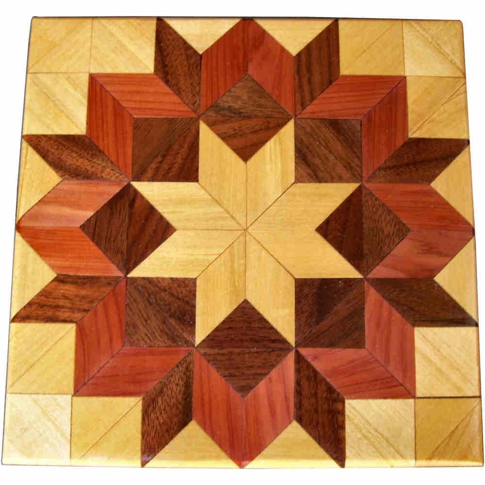 Cottonwood Carpenters Wheel Wood Quilt Block by woodmosaics
