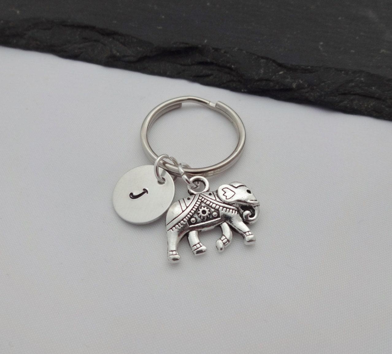 Elephant Charm Keyring Initial Elephant Keyring Hand Stamped Keyring Elephant Keyring Animal keyring Keychain Personalised Gift