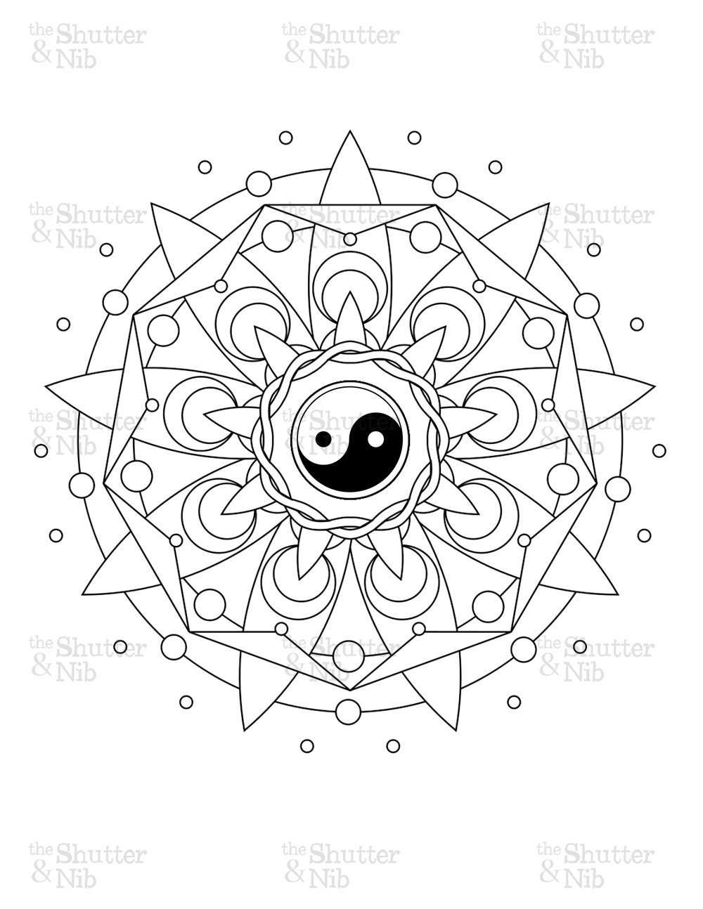 Cool ying yang coloring pages coloring pages for Ying yang coloring pages