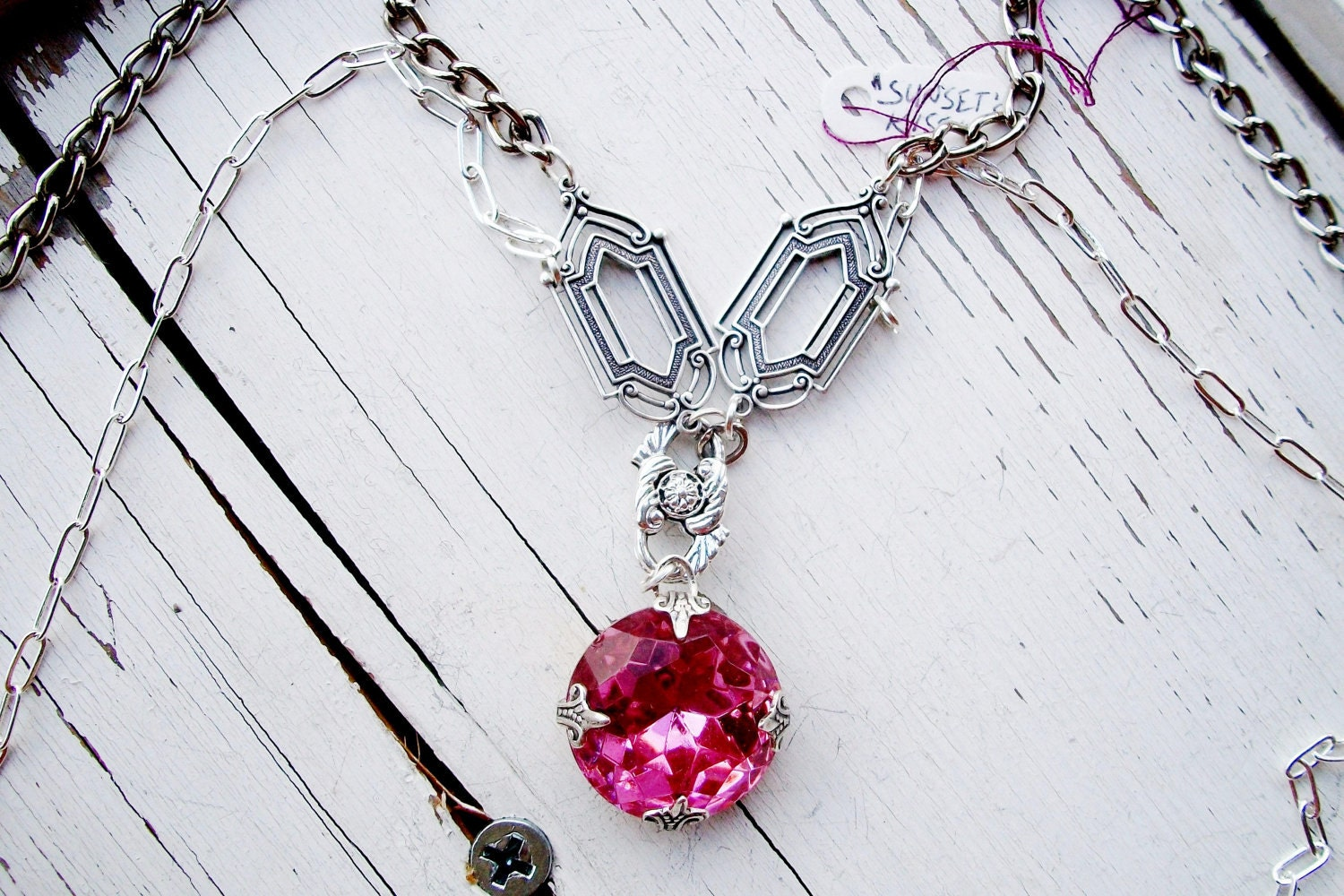 "OOAK Handmade Silver NECKLACE - Huge VINTAGE Pink Rhinestone Pendant - 34"" Long Chain"