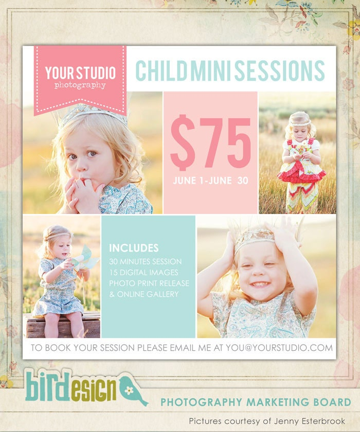 Photography Marketing Board Newsletter Template By Birdesign