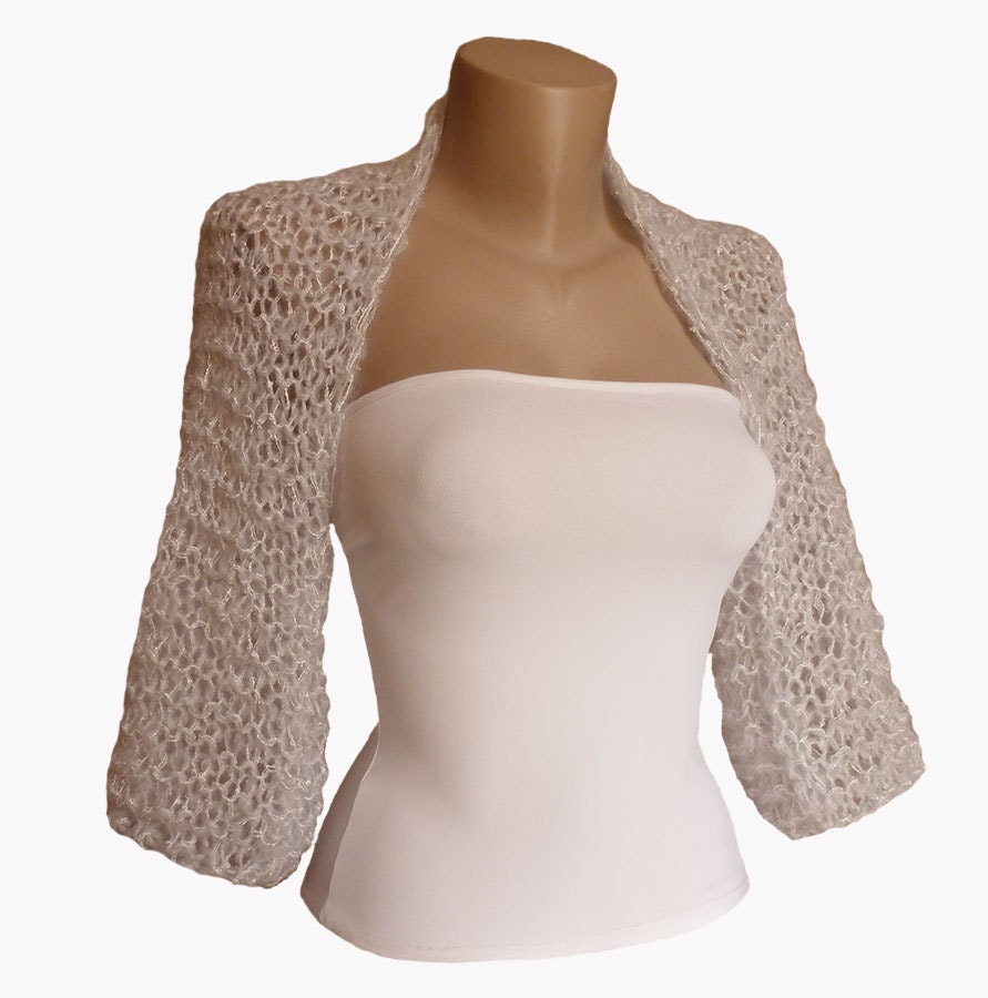 Knit Silver / Light Grey  Bolero Wedding Bolero Shrug Sleeves Jacket Weddings Bridal Bridesmaid Women For her