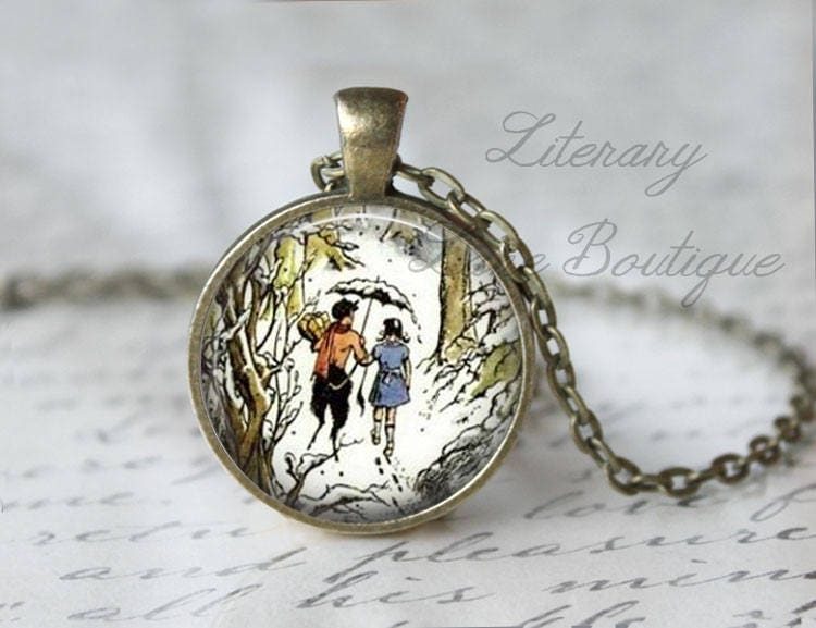 Chronicles of Narnia, Lucy Mr Tumnus C. S. Lewis, The Lion The Witch And The Wardrobe Illustration, Narnia Necklace or Keyring, Keychain.