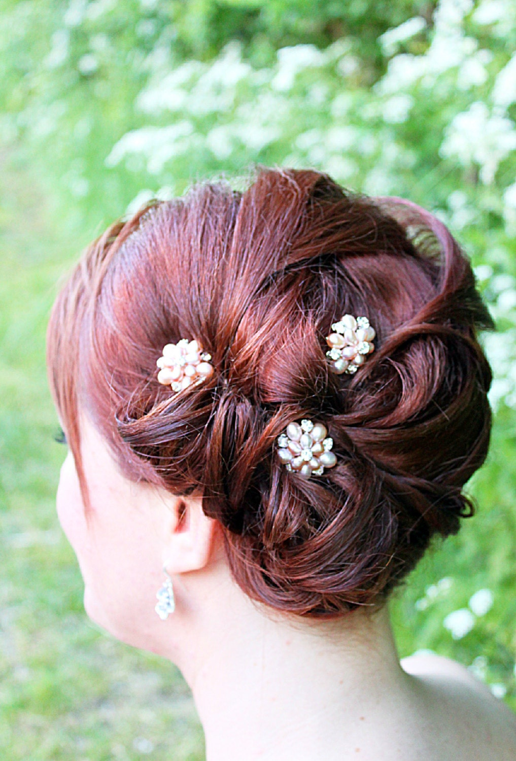 Real Flower Bridal Hair Accessories : Pink flora pearl floral bridal hair rose by