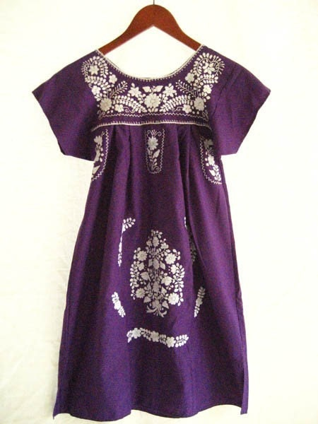Mexican embroidered dress tunic purple white by aidacoronado