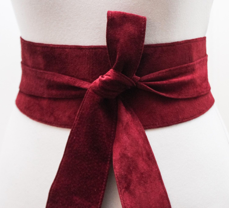 Dark Red Suede Tulip tie Obi Belt  Waist corset Belt  Suede Tie Belt  Real Suede Leather Belt Red Belt  Plus size belts