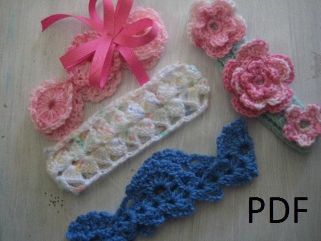 PDF pattern Crochet Baby Headbands by MyBagOfDesigns on Etsy