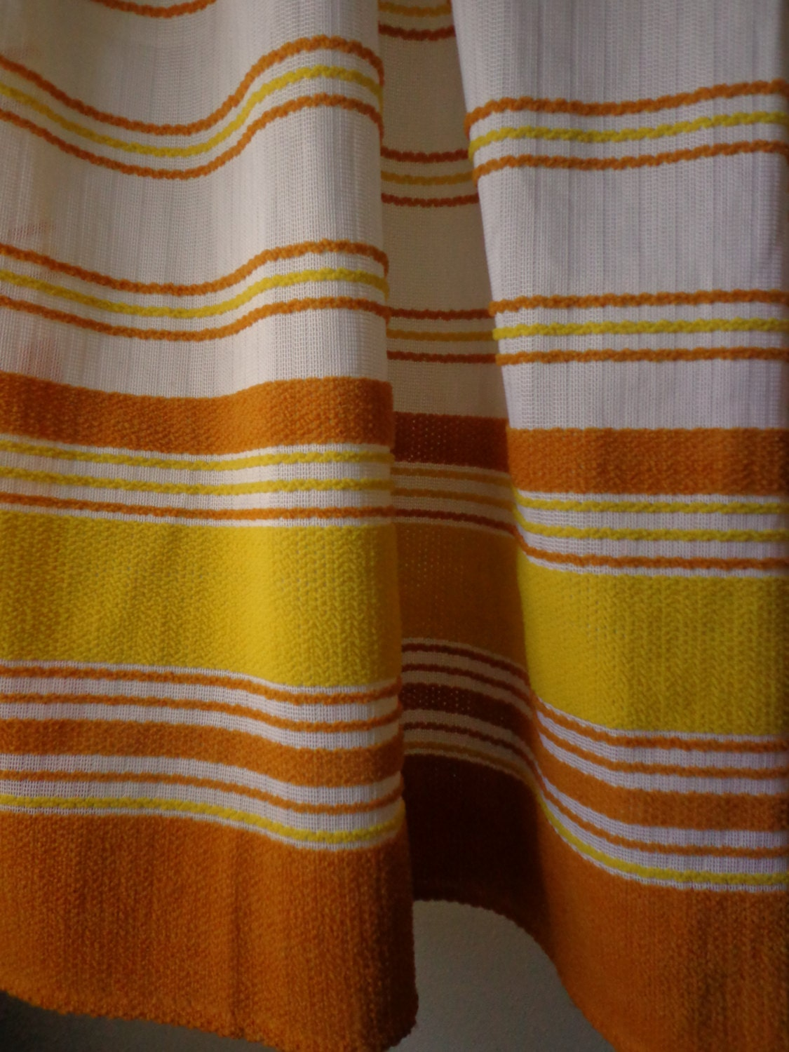 Vintage Curtains 1960's Casement Sheers with Looped Yarn Mustard and ...