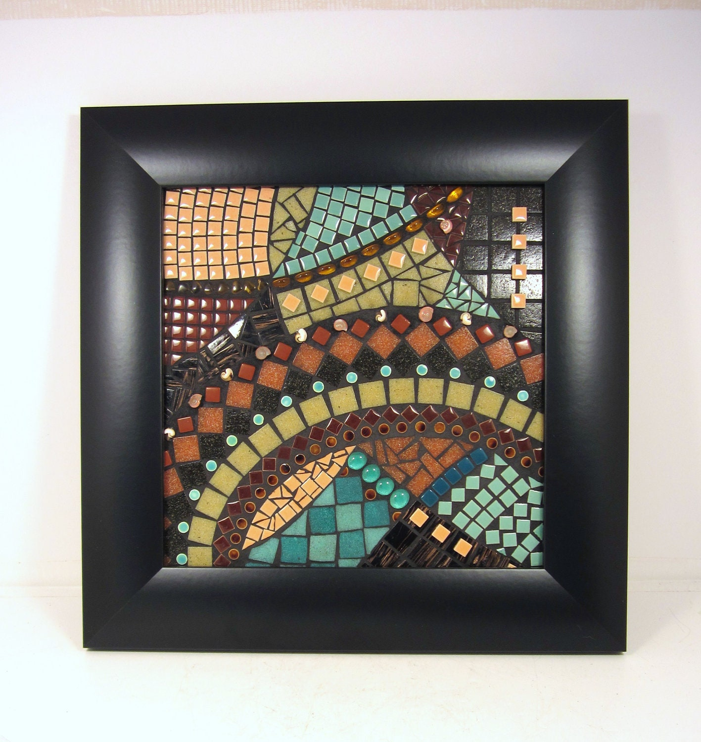 Mosaic art -- CURRENTS -- mostly neutrals with teal accents, professionally framed