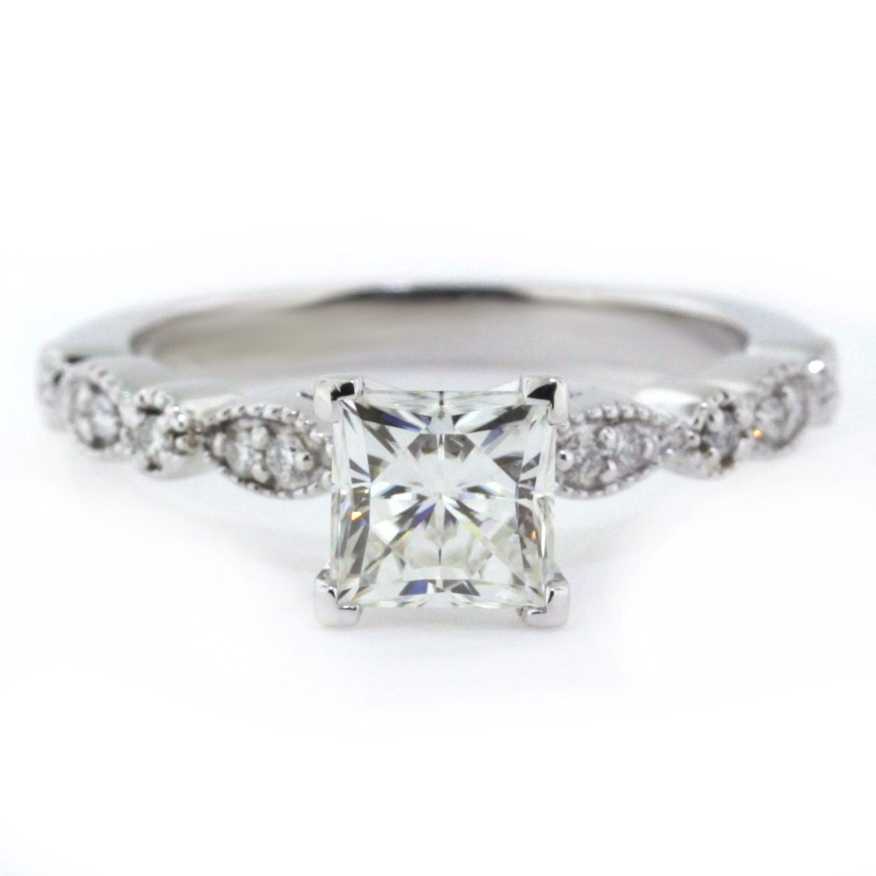Vintage Style Princess Cut Engagement Ring Diamond Side Stones 14k ...