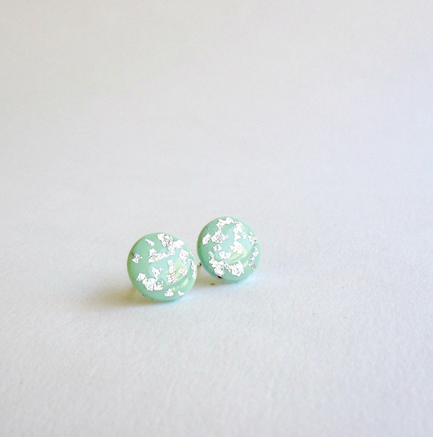 Mint green silver studs- Round post earrings- Elegant jewelry- polymer clay earrings - DivineDecadance