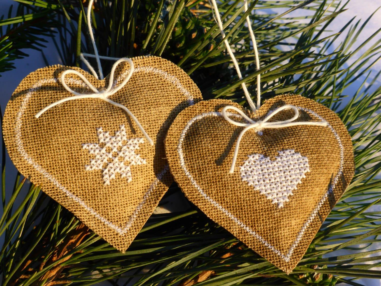 Two burlap hearts -Home Decor - cross stitch