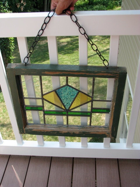 Antique Stained Glass Window In Original Wood Frame By
