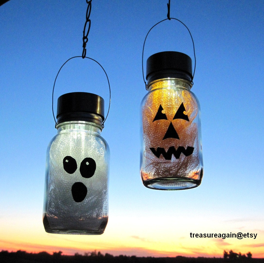 Solar Halloween Mason Jar Lights Pumpkin Ghost by treasureagain