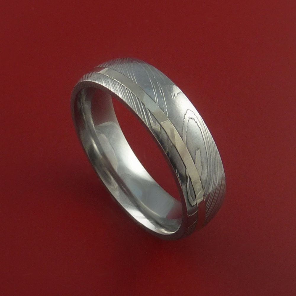 Damascus Steel 14k White Gold Ring Hand By Stonebrookjewelry