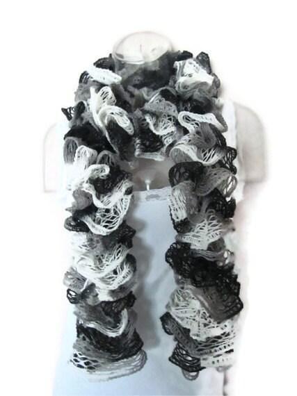 Dachshund Jumper Knitting Pattern : Handmade Ruffle Fashion Scarf Sashay Knitted Ruffled by Madebyfate