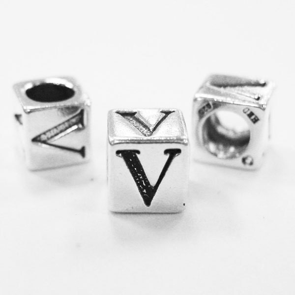 Silver Alphabet Beads: Alphabet Beads Sterling Silver 4mm Alphabet Blocks V By Plazko