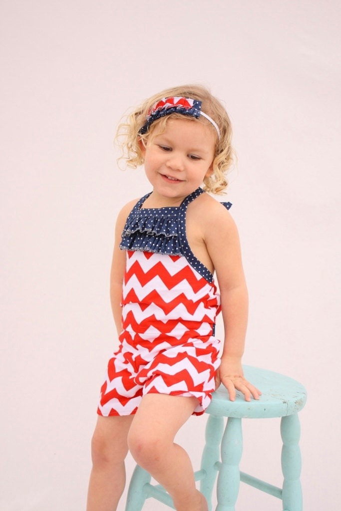 Patriotic girls Romper, Patriotic clothing, 4th of July toddler, Red white and blue Romper - haddygrace