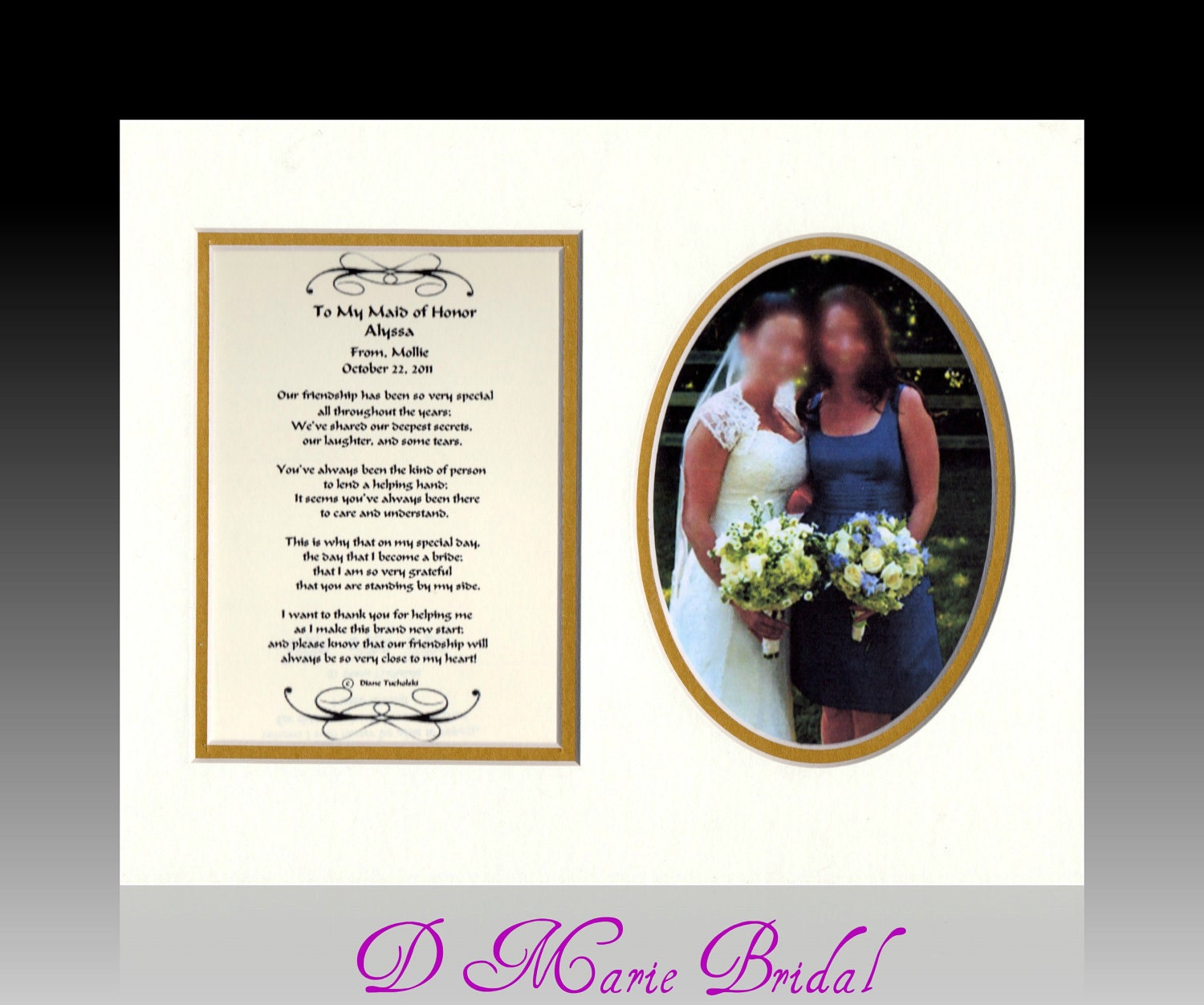 Gift Maid Of Honor Personalized Wedding Gift Bride By