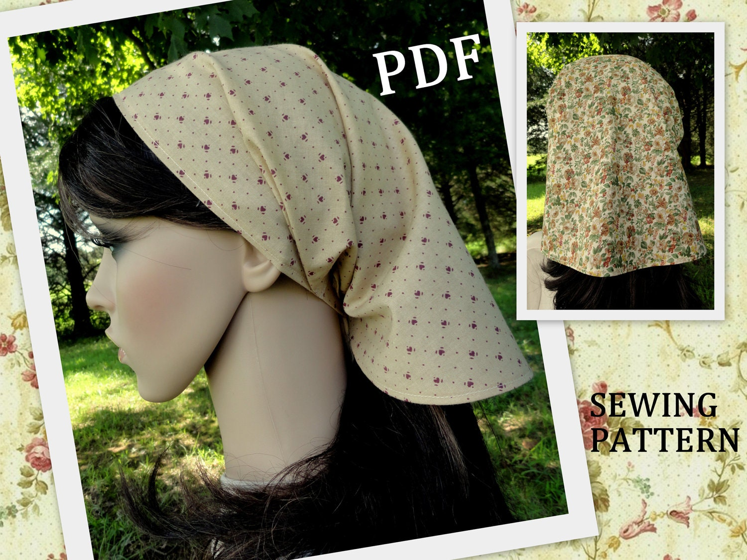 Head Scarf Headscarf Pattern PDF Hair Scarf Kerchief Pattern Bandana  Chemo Head Scarf Sewing Pattern