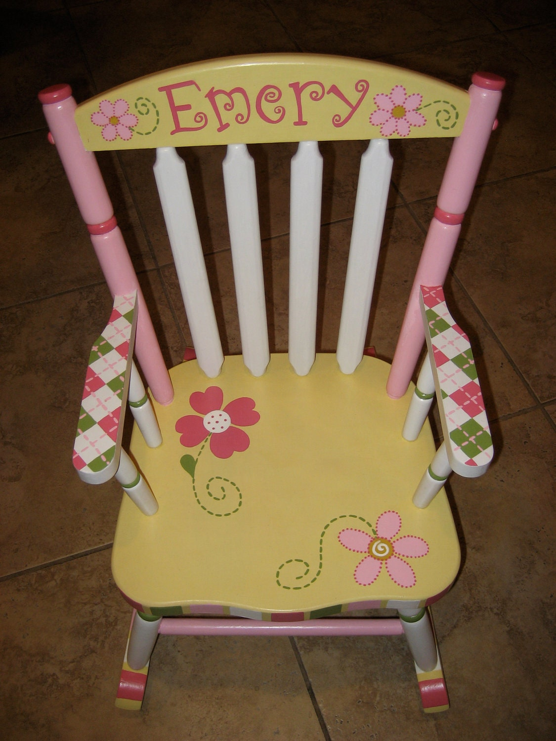 Hand painted personalized child s rocking chair