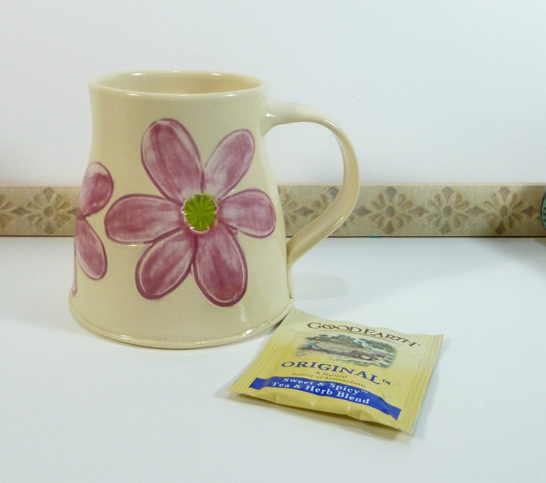 Coffee Cup Pink Daisy Handmade