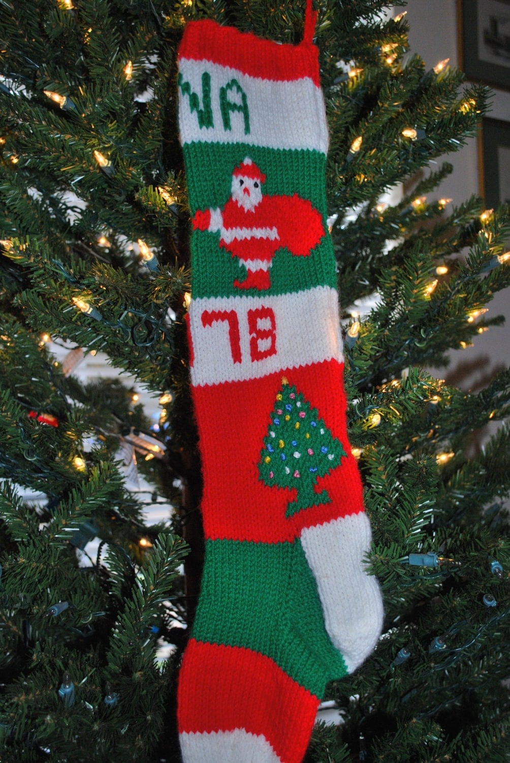 Classic Christmas Stocking Knitting Pattern : Items similar to Personalized Vintage Classic Pattern Santa Claus Christmas S...