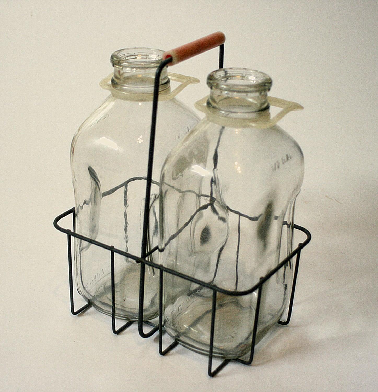 vintage milk bottles and carrier with by vintagespiritnsoul. Black Bedroom Furniture Sets. Home Design Ideas