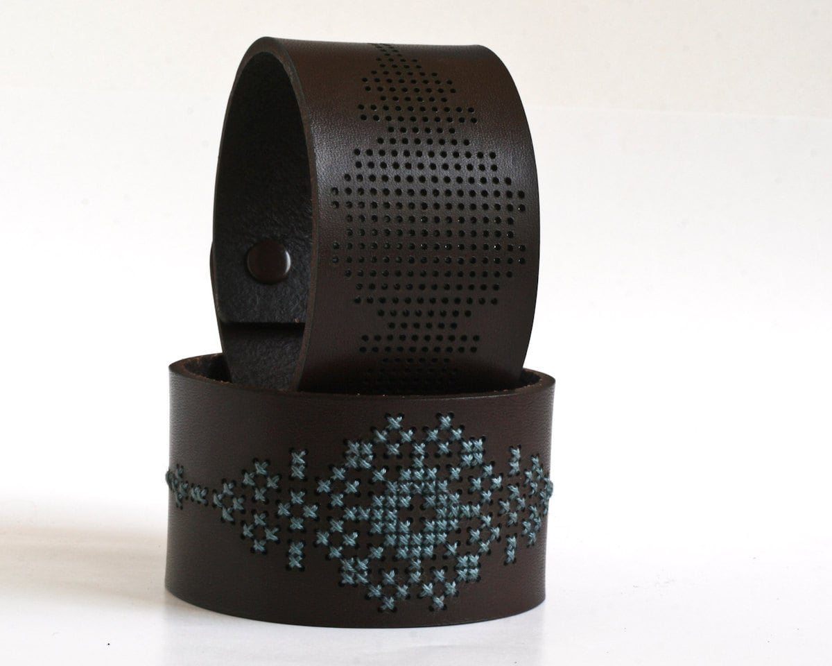 DIY Kit - Cross Stitched Leather Cuff, Dark Brown Leather with Abstract Flower Design
