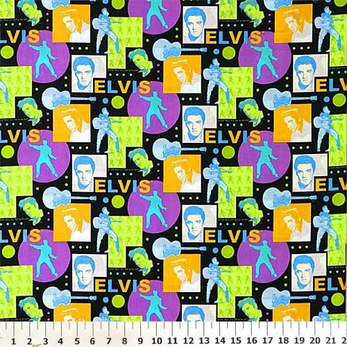 Elvis Presley Cotton Fabric Graphic Purple Green Blue By