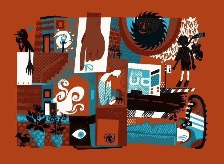 Pacific Jamzzz screenprinted art poster ORANGE VARIANT