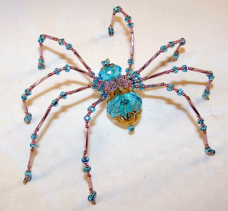 spider turquoise crystalline beaded by pkjcreations