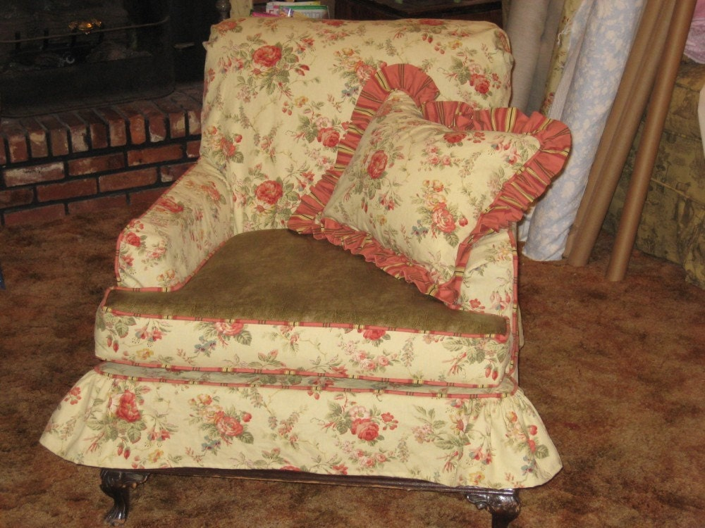 Antique Chair with Cottage Style Slipcover by cottageandcabin