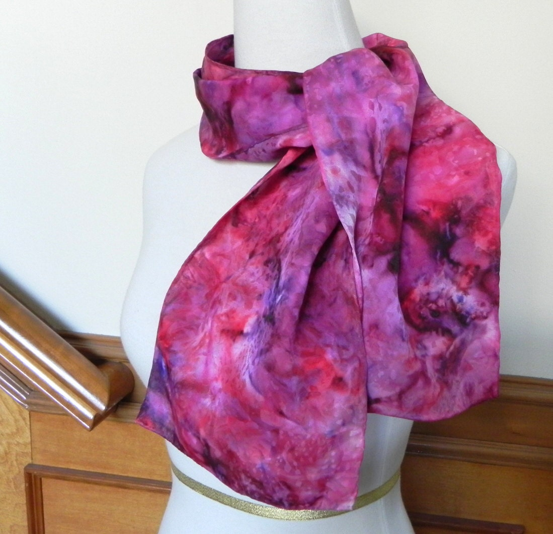 Long Jacquard Silk Scarf Hand Dyed in Shades of Red and Purple, Ready to Ship - RosyDaysScarves
