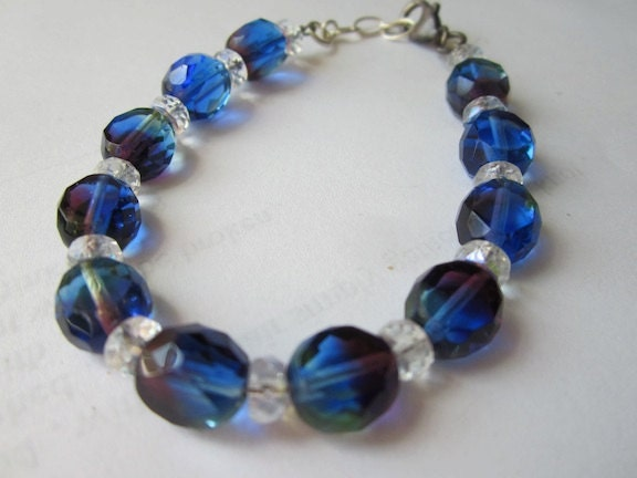 Czech Deep Blue Purple Flat Cut  8 mm  Faceted Beads  Bracelet sized 7 to 7.5 inches.  Sturdy Sterling Clasp, - PorcelainGemstoneART
