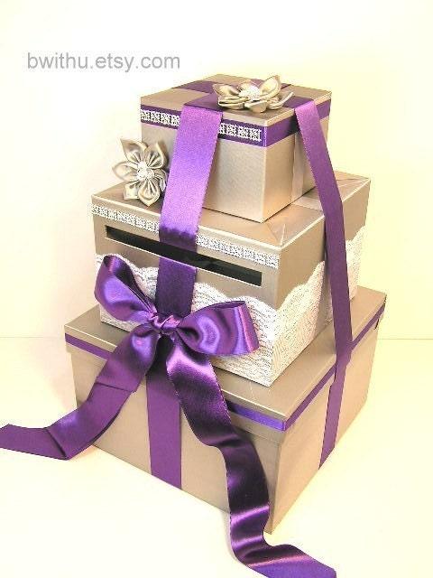 Purple Wedding Gift Card Box : Silver and Purple Wedding Card Box Gift Card Box Money Box Holder ...