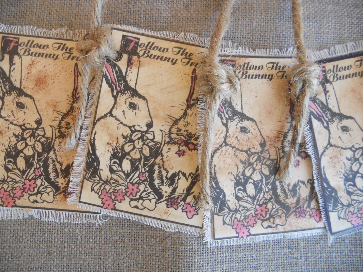 Gift Tags, Easter Tags, Bunny Tags Aged Primitive Gift Tag by PebbleCreekDesigns - PebbleCreekDesigns