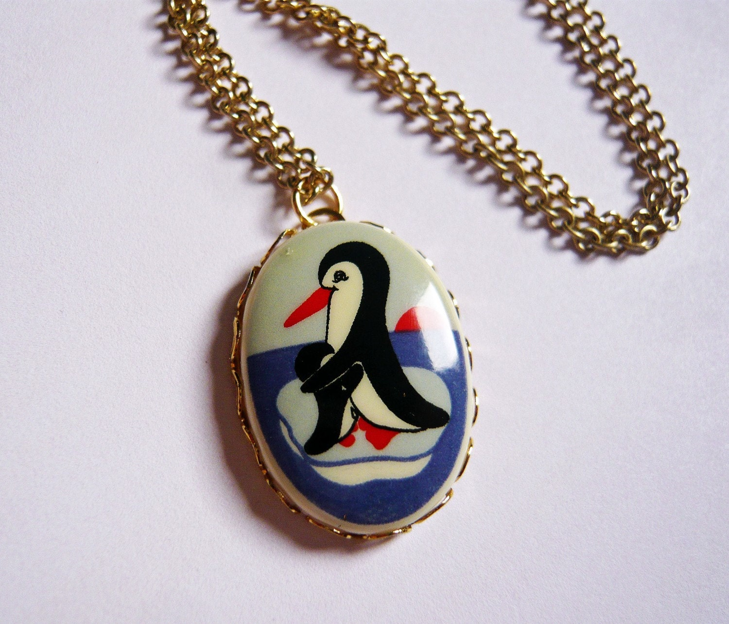 Vintage Mom and Baby Penguin Cameo Necklace by MaruMaru on Etsy from etsy.com