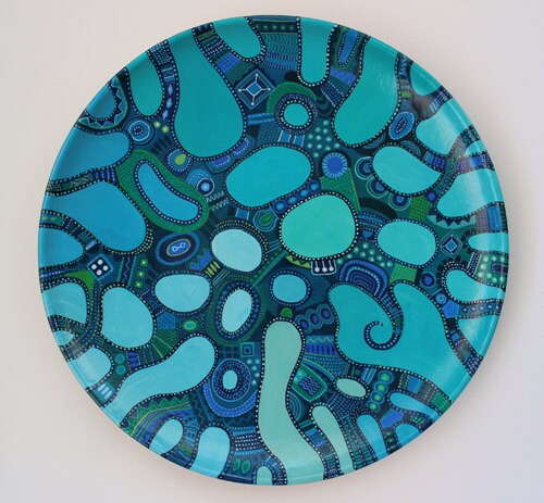 Decorative Turquoise and Blue Platter, Hand painted ceramic plate, Handmade display plate, wall hanging plate, unique stoneware and pottery - Essenziale