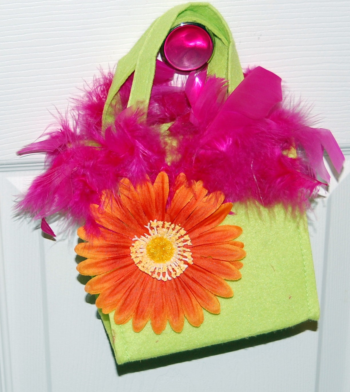 Fun and Flirty Handbag - lime green/orange