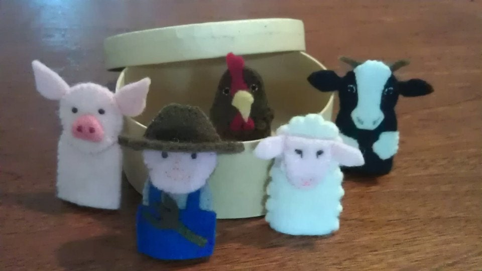 Finger Puppets - Old McDonald's Farm set of 5 in wool felt nursery rhyme toy pretend play story telling
