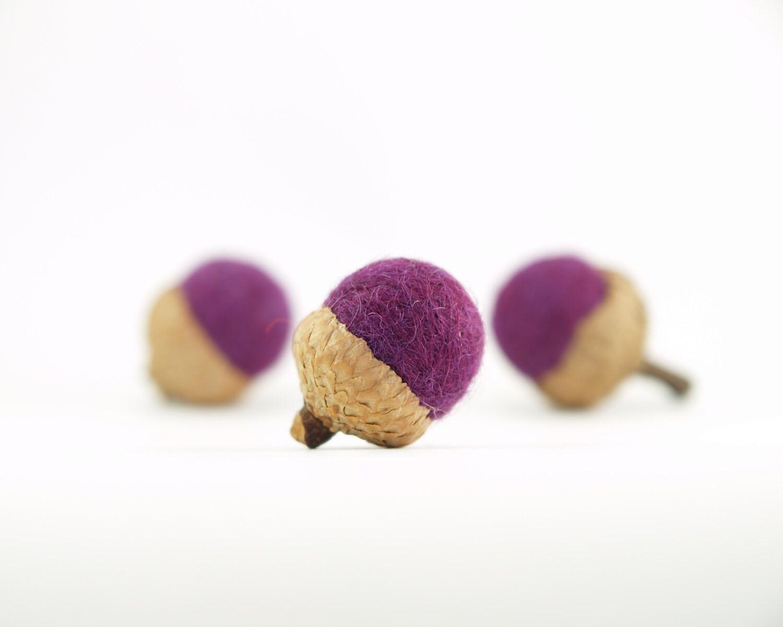 Plum Acorns, Needle Felted Home Decor, Purple Modern Minimal Decoations, blackberry berry grape - 6 - Fairyfolk
