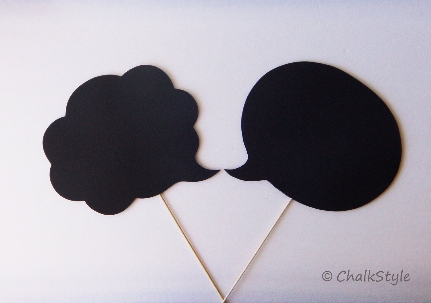 2 Large CHALKBOARD Speech Bubbles on a Stick  -- TWO SIDED Oval and Cloud Shaped Chalkboards, Photo Booth Props for Wedding - ChalkStyle