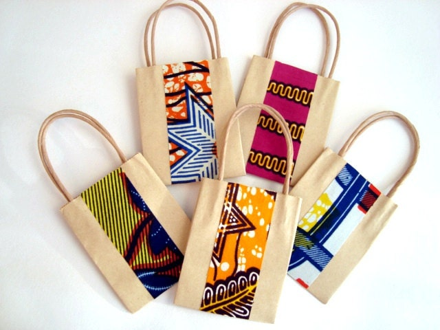 Wedding Favour Party Bag Small Gift Bag African Wax By ChilliPeppa